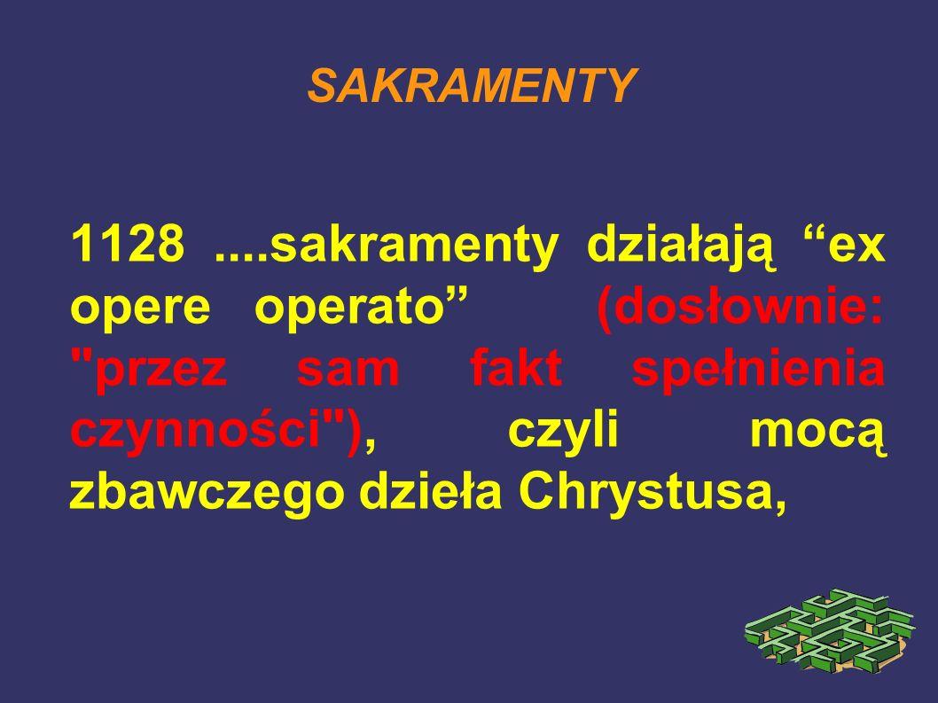 SAKRAMENTY 1128....sakramenty działają ex opere operato (dosłownie: