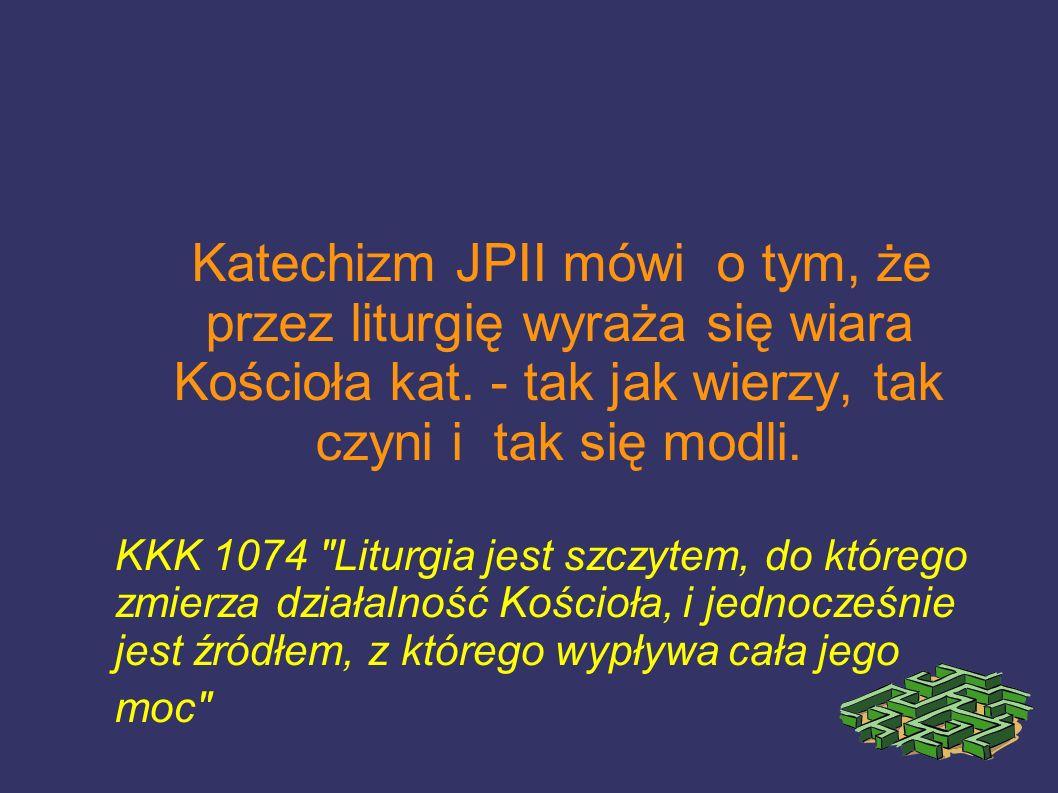 Katechizm JPII mówi o tym, że przez liturgię wyraża się wiara Kościoła kat. - tak jak wierzy, tak czyni i tak się modli. KKK 1074