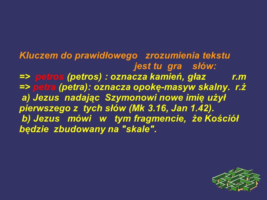 Kluczem do prawidłowego zrozumienia tekstu jest tu gra słów: => petros (petros) : oznacza kamień, głaz r.m => petra (petra): oznacza opokę-masyw skaln