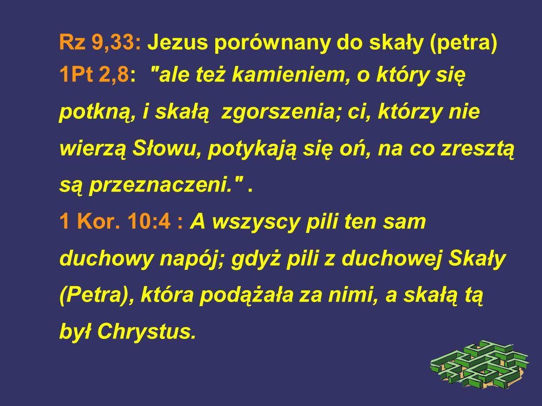 Rz 9,33: Jezus porównany do skały (petra) 1Pt 2,8:
