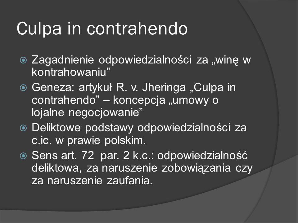 Culpa in contrahendo Zagadnienie odpowiedzialności za winę w kontrahowaniu Geneza: artykuł R. v. Jheringa Culpa in contrahendo – koncepcja umowy o loj