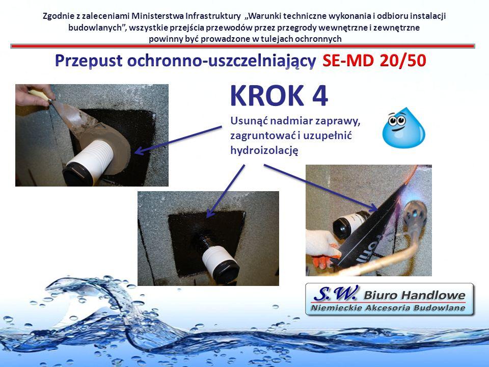 Usunąć nadmiar zaprawy, zagruntować i uzupełnić hydroizolację Zgodnie z zaleceniami Ministerstwa Infrastruktury Warunki techniczne wykonania i odbioru
