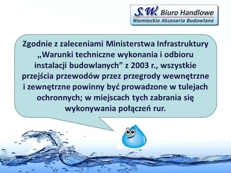 Zgodnie z zaleceniami Ministerstwa Infrastruktury Warunki techniczne wykonania i odbioru instalacji budowlanych z 2003 r., wszystkie przejścia przewod