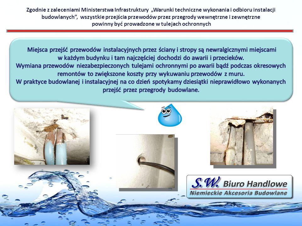 Zgodnie z zaleceniami Ministerstwa Infrastruktury Warunki techniczne wykonania i odbioru instalacji budowlanych, wszystkie przejścia przewodów przez przegrody wewnętrzne i zewnętrzne powinny być prowadzone w tulejach ochronnych