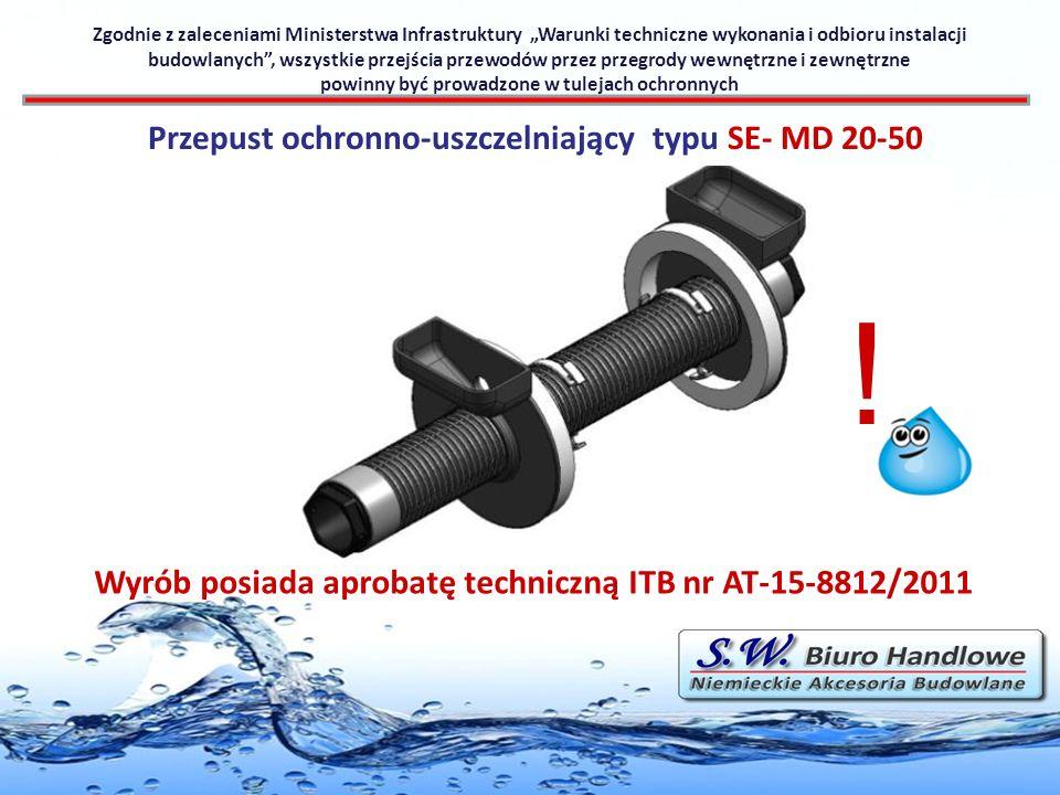 Przepust ochronno-uszczelniający typu SE- MD 20-50 Wyrób posiada aprobatę techniczną ITB nr AT-15-8812/2011 ! Zgodnie z zaleceniami Ministerstwa Infra