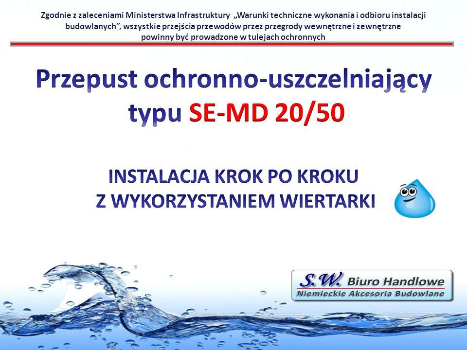 Zgodnie z zaleceniami Ministerstwa Infrastruktury Warunki techniczne wykonania i odbioru instalacji budowlanych, wszystkie przejścia przewodów przez p