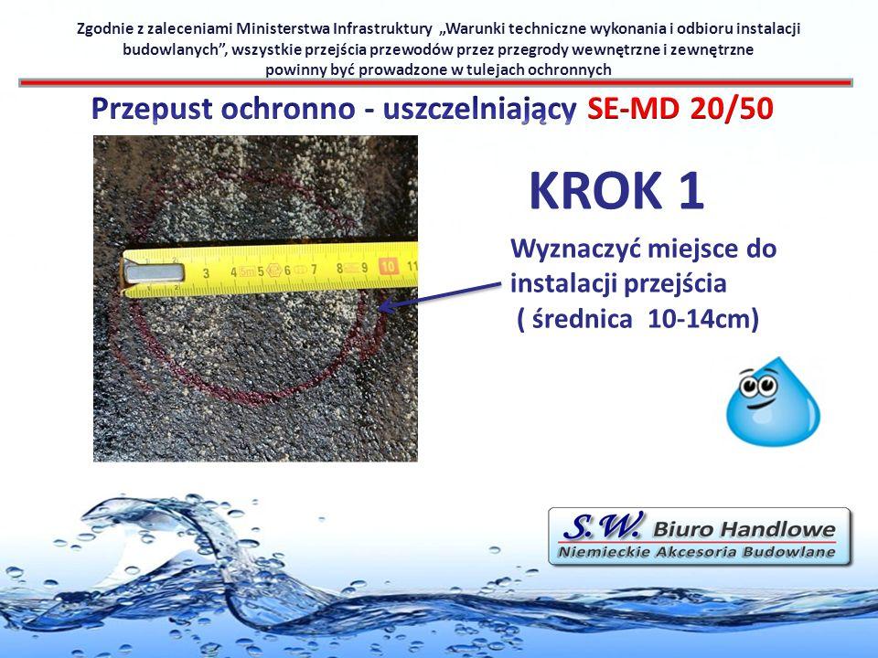 KROK 2 Zgodnie z zaleceniami Ministerstwa Infrastruktury Warunki techniczne wykonania i odbioru instalacji budowlanych, wszystkie przejścia przewodów przez przegrody wewnętrzne i zewnętrzne powinny być prowadzone w tulejach ochronnych