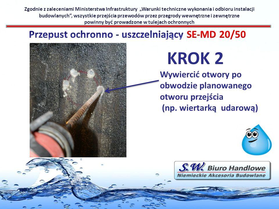 KROK 2 Zgodnie z zaleceniami Ministerstwa Infrastruktury Warunki techniczne wykonania i odbioru instalacji budowlanych, wszystkie przejścia przewodów