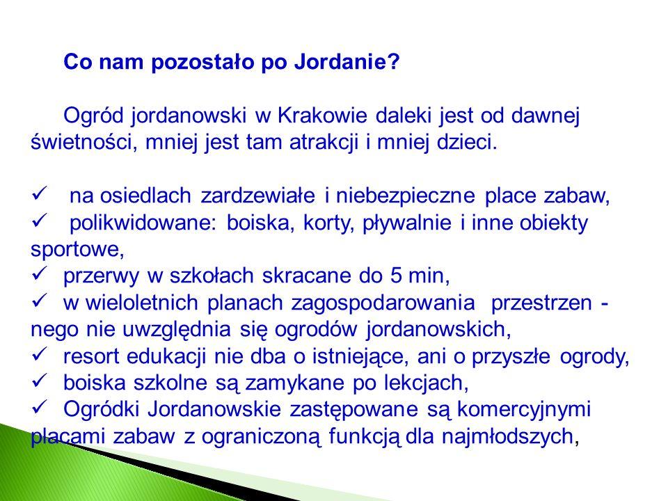 Co nam pozostało po Jordanie? Ogród jordanowski w Krakowie daleki jest od dawnej świetności, mniej jest tam atrakcji i mniej dzieci. na osiedlach zard