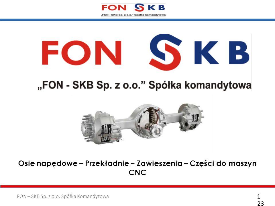 FON – SKB Sp. z o.o. Spółka Komandytowa 23- 10- 2011 1 Osie napędowe – Przekładnie – Zawieszenia – Części do maszyn CNC