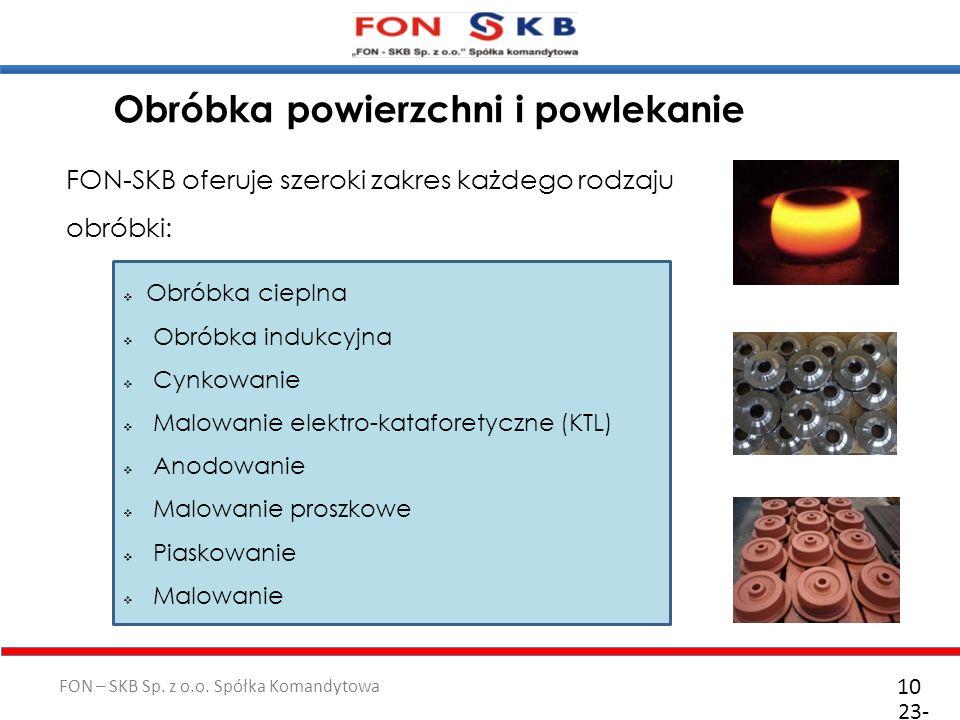FON – SKB Sp. z o.o. Spółka Komandytowa 23- 10- 2011 10 Obróbka cieplna Obróbka indukcyjna Cynkowanie Malowanie elektro-kataforetyczne (KTL) Anodowani