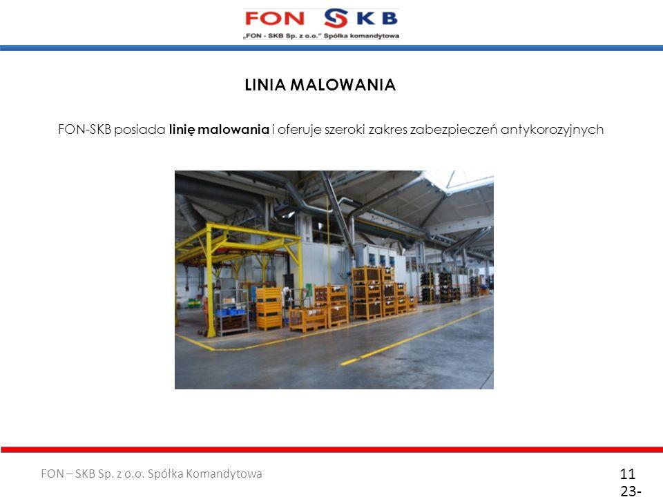 FON – SKB Sp. z o.o. Spółka Komandytowa 23- 10- 2011 11 FON-SKB posiada linię malowania i oferuje szeroki zakres zabezpieczeń antykorozyjnych LINIA MA