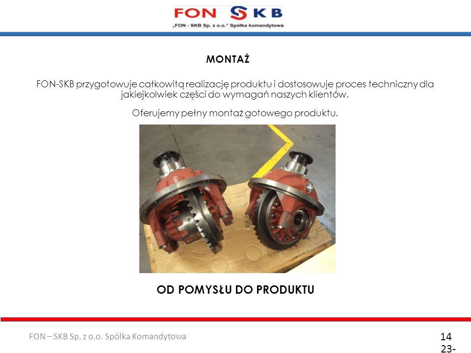 FON – SKB Sp. z o.o. Spółka Komandytowa 23- 10- 2011 14 FON-SKB przygotowuje całkowitą realizację produktu i dostosowuje proces techniczny dla jakiejk