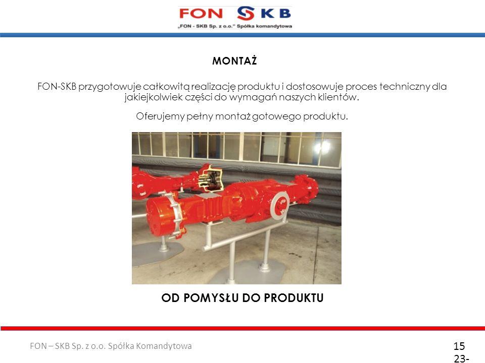 FON – SKB Sp. z o.o. Spółka Komandytowa 23- 10- 2011 15 FON-SKB przygotowuje całkowitą realizację produktu i dostosowuje proces techniczny dla jakiejk