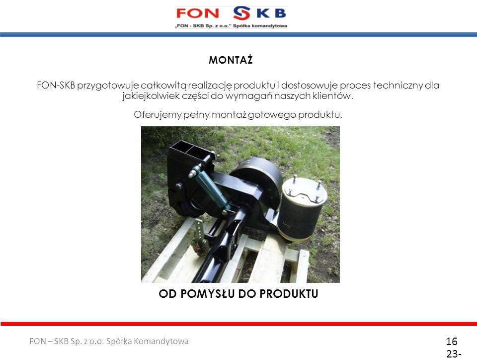 FON – SKB Sp. z o.o. Spółka Komandytowa 23- 10- 2011 16 FON-SKB przygotowuje całkowitą realizację produktu i dostosowuje proces techniczny dla jakiejk