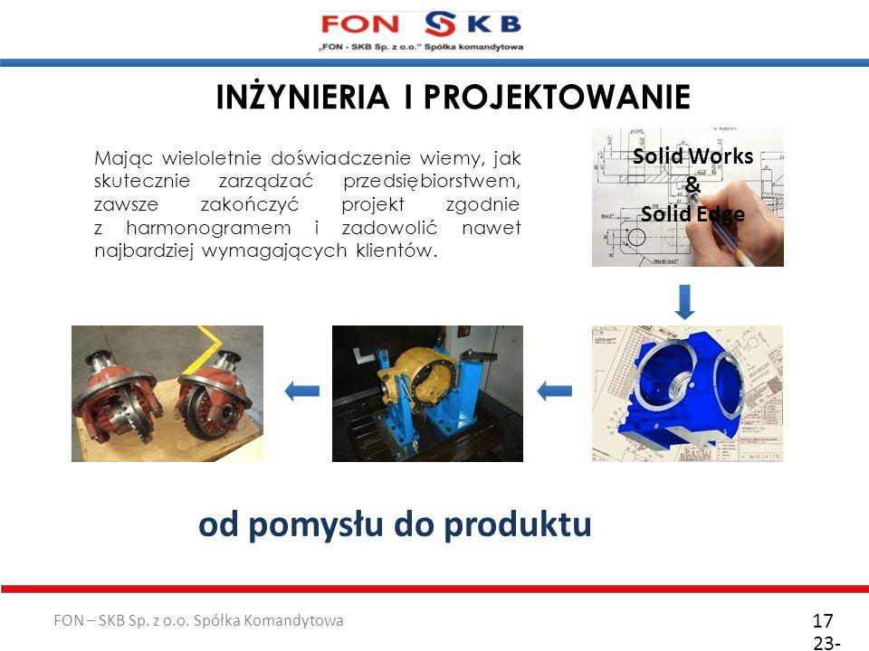 FON – SKB Sp. z o.o. Spółka Komandytowa 23- 10- 2011 17 INŻYNIERIA I PROJEKTOWANIE Mając wieloletnie doświadczenie wiemy, jak skutecznie zarządzać prz