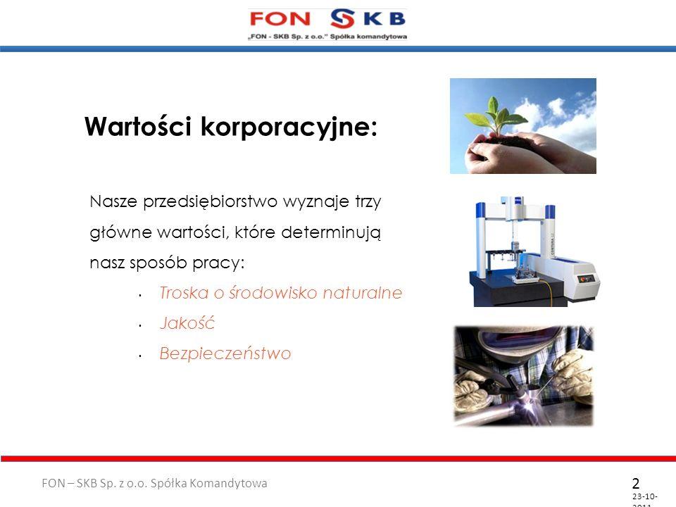 FON – SKB Sp. z o.o. Spółka Komandytowa 23-10- 2011 2 Wartości korporacyjne: Nasze przedsiębiorstwo wyznaje trzy główne wartości, które determinują na