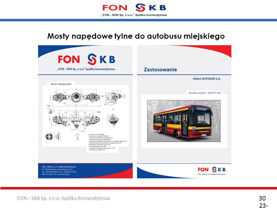 FON – SKB Sp. z o.o. Spółka Komandytowa 23- 10- 2011 30 Front and Rear Axles Mosty napędowe tylne do autobusu miejskiego
