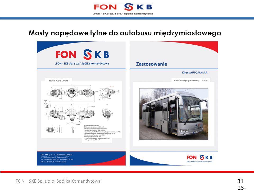 FON – SKB Sp. z o.o. Spółka Komandytowa 23- 10- 2011 31 Mosty napędowe tylne do autobusu międzymiastowego