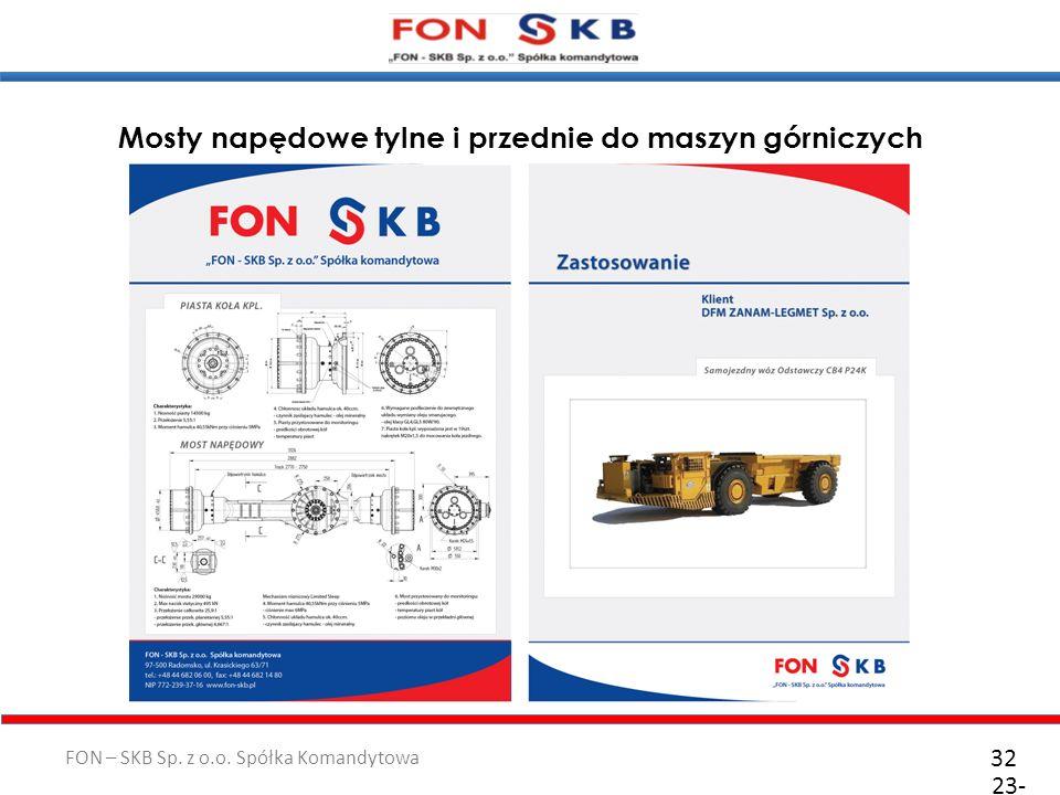 FON – SKB Sp. z o.o. Spółka Komandytowa 23- 10- 2011 32 Mosty napędowe tylne i przednie do maszyn górniczych