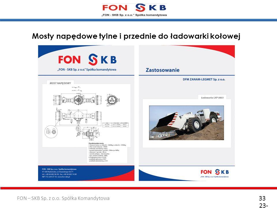 FON – SKB Sp. z o.o. Spółka Komandytowa 23- 10- 2011 33 Mosty napędowe tylne i przednie do ładowarki kołowej