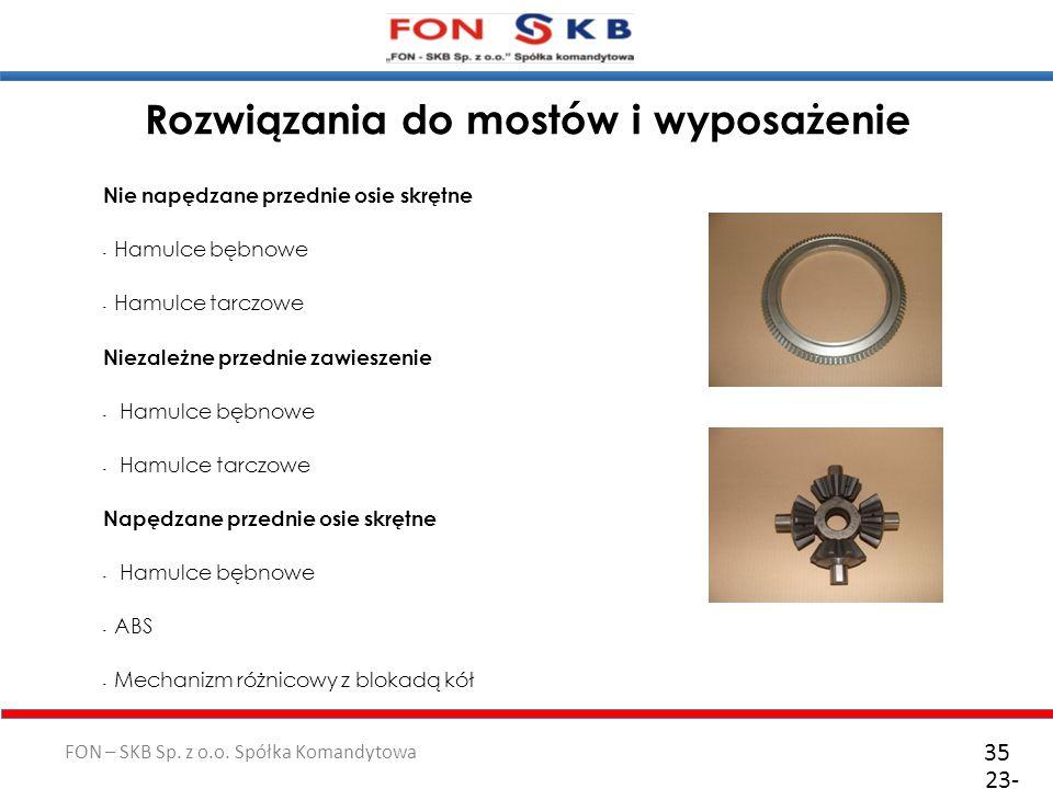 FON – SKB Sp. z o.o. Spółka Komandytowa Rozwiązania do mostów i wyposażenie Nie napędzane przednie osie skrętne - Hamulce bębnowe - Hamulce tarczowe N