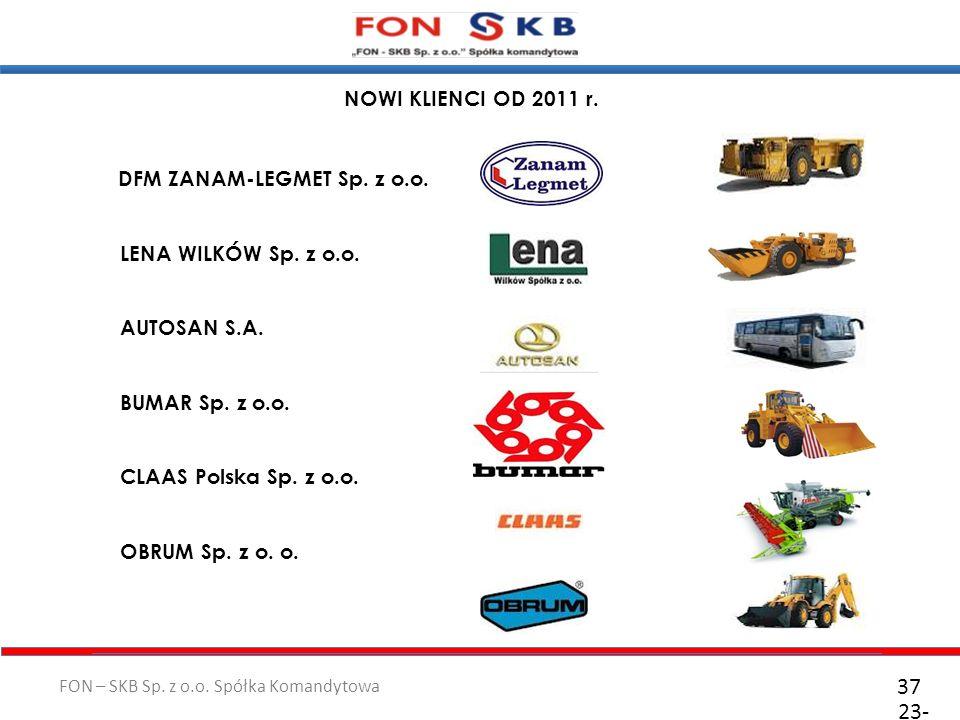 FON – SKB Sp. z o.o. Spółka Komandytowa 23- 10- 2011 37 NOWI KLIENCI OD 2011 r. DFM ZANAM-LEGMET Sp. z o.o. LENA WILKÓW Sp. z o.o. AUTOSAN S.A. BUMAR