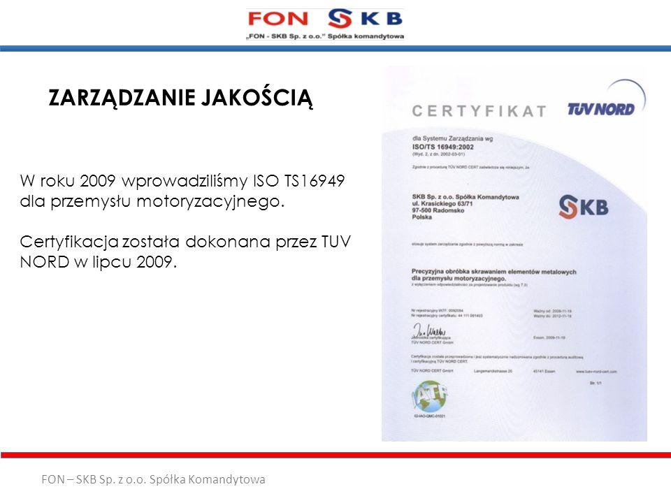 FON – SKB Sp. z o.o. Spółka Komandytowa ZARZĄDZANIE JAKOŚCIĄ W roku 2009 wprowadziliśmy ISO TS16949 dla przemysłu motoryzacyjnego. Certyfikacja został