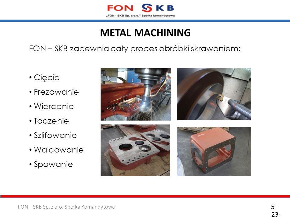 FON – SKB Sp. z o.o. Spółka Komandytowa 23- 10- 2011 5 FON – SKB zapewnia cały proces obróbki skrawaniem: Cięcie Frezowanie Wiercenie Toczenie Szlifow