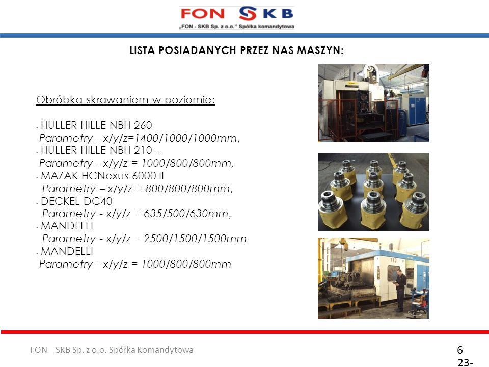 FON – SKB Sp. z o.o. Spółka Komandytowa 23- 10- 2011 6 LISTA POSIADANYCH PRZEZ NAS MASZYN: Obróbka skrawaniem w poziomie: HULLER HILLE NBH 260 Paramet