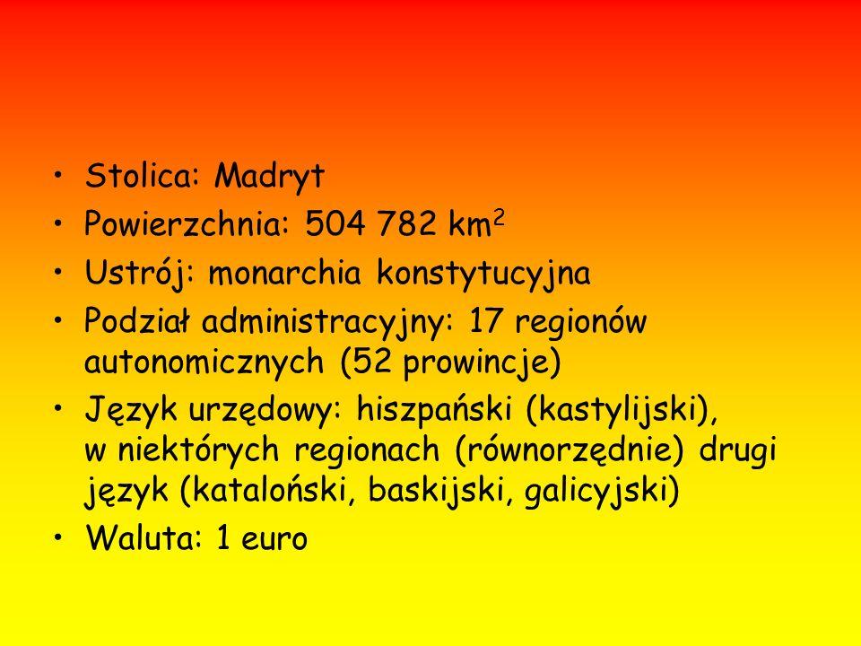 Stolica: Madryt Powierzchnia: 504 782 km 2 Ustrój: monarchia konstytucyjna Podział administracyjny: 17 regionów autonomicznych (52 prowincje) Język ur