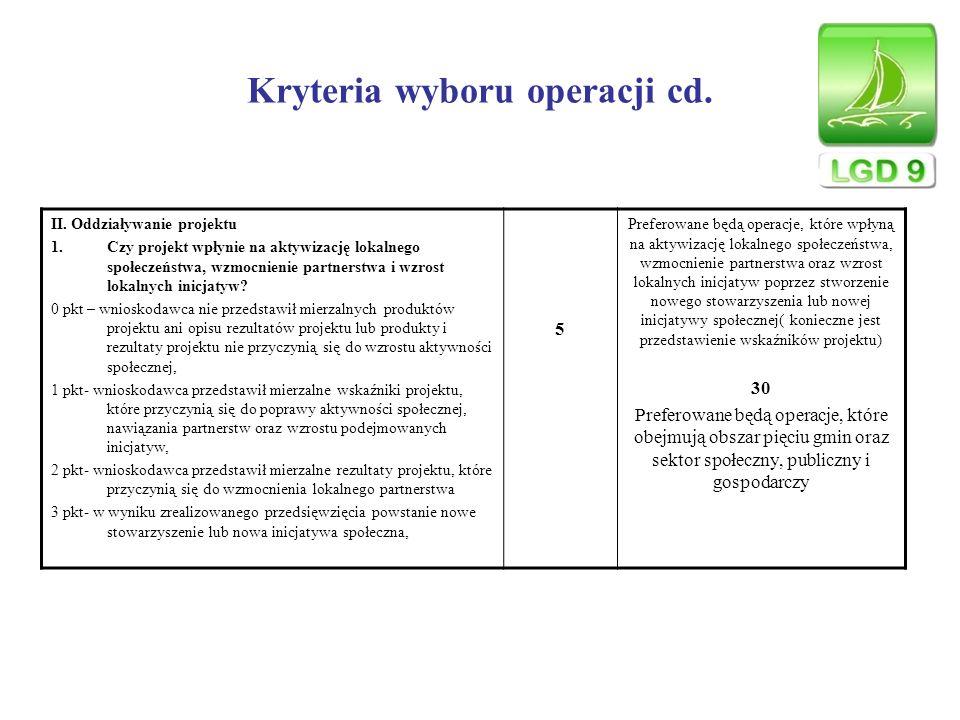 Kryteria wyboru operacji cd. II. Oddziaływanie projektu 1.Czy projekt wpłynie na aktywizację lokalnego społeczeństwa, wzmocnienie partnerstwa i wzrost
