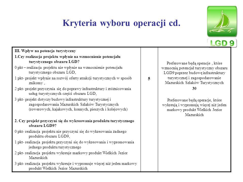 Kryteria wyboru operacji cd. III. Wpływ na potencja turystyczny 1.Czy realizacja projektu wpłynie na wzmocnienie potencjału turystycznego obszaru LGD?