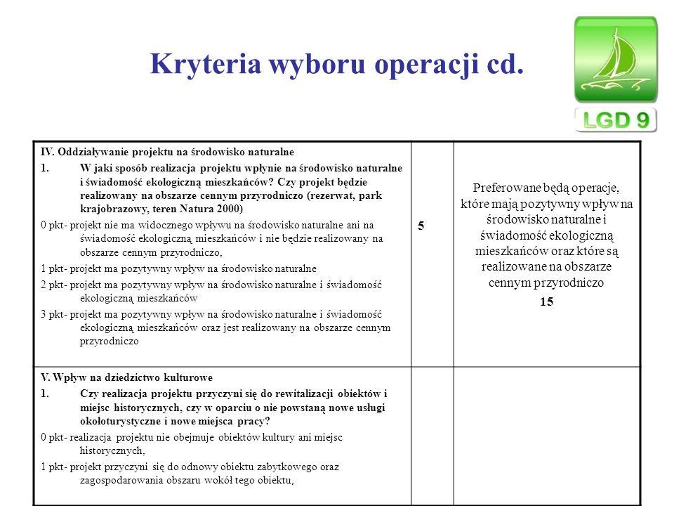 Kryteria wyboru operacji cd. IV. Oddziaływanie projektu na środowisko naturalne 1.W jaki sposób realizacja projektu wpłynie na środowisko naturalne i
