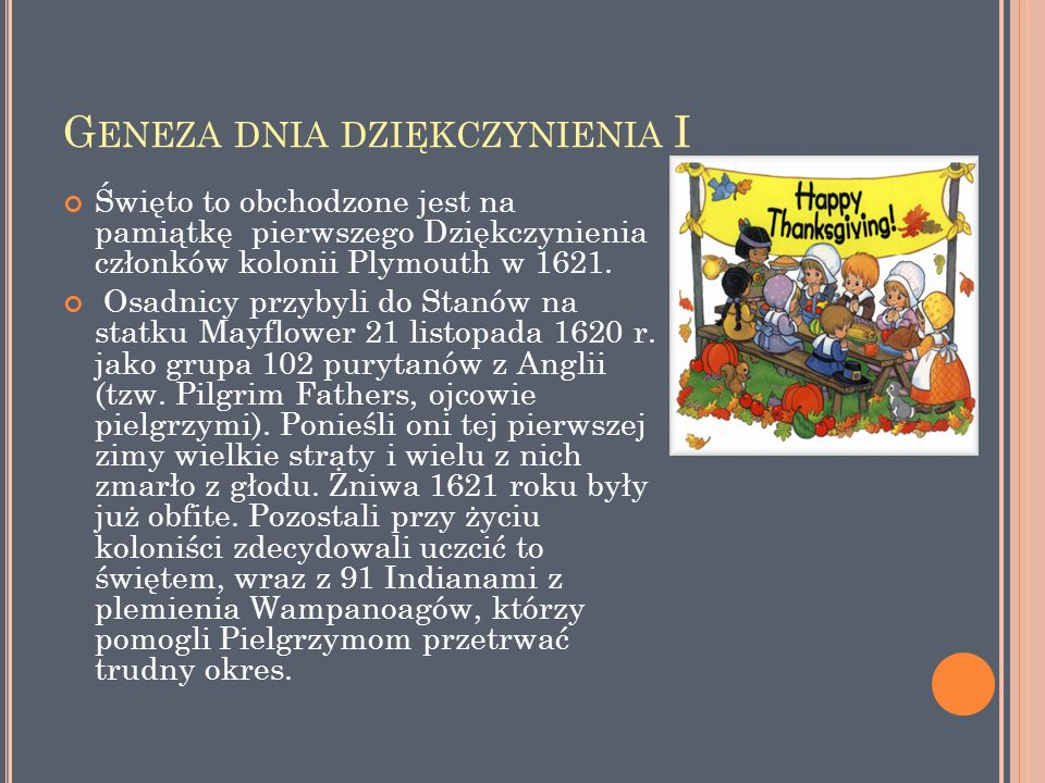 G ENEZA DNIA DZIĘKCZYNIENIA II Indianie pomogli Pielgrzymom przetrwać ich pierwszy rok.