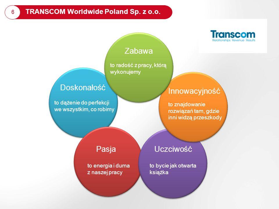 7 6 TRANSCOM Worldwide Poland Sp. z o.o. Doskonałość PasjaUczciwość to bycie jak otwarta książka to znajdowanie rozwiązań tam, gdzie inni widzą przesz