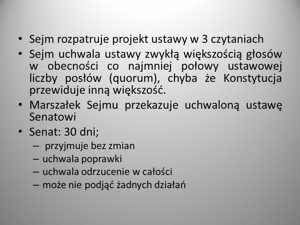 Sejm rozpatruje projekt ustawy w 3 czytaniach Sejm uchwala ustawy zwykłą większością głosów w obecności co najmniej połowy ustawowej liczby posłów (qu