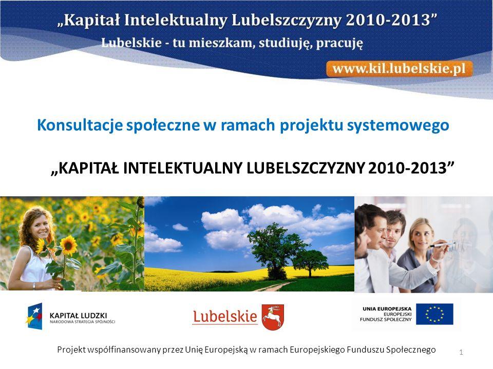 Projekt współfinansowany przez Unię Europejską w ramach Europejskiego Funduszu Społecznego 1 Konsultacje społeczne w ramach projektu systemowego KAPIT