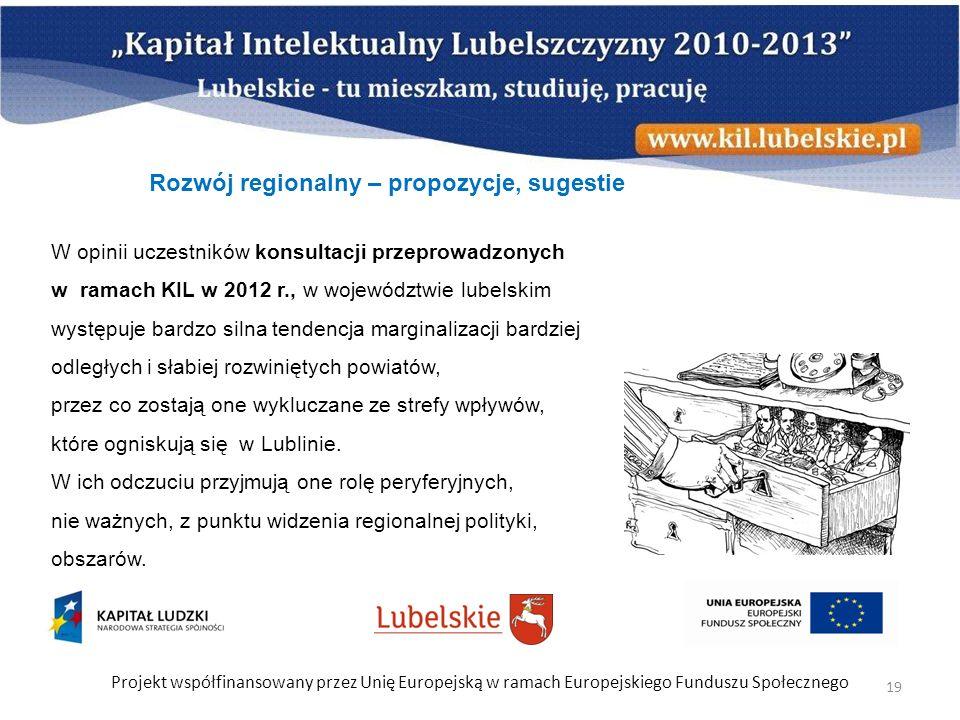 Projekt współfinansowany przez Unię Europejską w ramach Europejskiego Funduszu Społecznego 19 W opinii uczestników konsultacji przeprowadzonych w rama