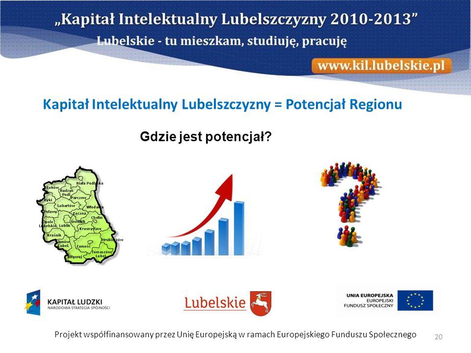Projekt współfinansowany przez Unię Europejską w ramach Europejskiego Funduszu Społecznego 20 Kapitał Intelektualny Lubelszczyzny = Potencjał Regionu