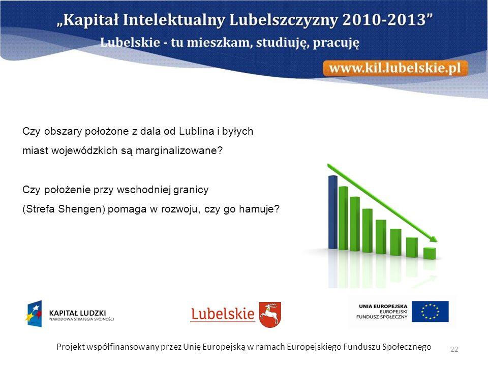 Projekt współfinansowany przez Unię Europejską w ramach Europejskiego Funduszu Społecznego 22 Czy obszary położone z dala od Lublina i byłych miast wo