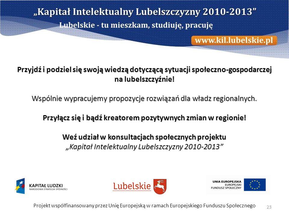 Projekt współfinansowany przez Unię Europejską w ramach Europejskiego Funduszu Społecznego 23 Przyjdź i podziel się swoją wiedzą dotyczącą sytuacji sp