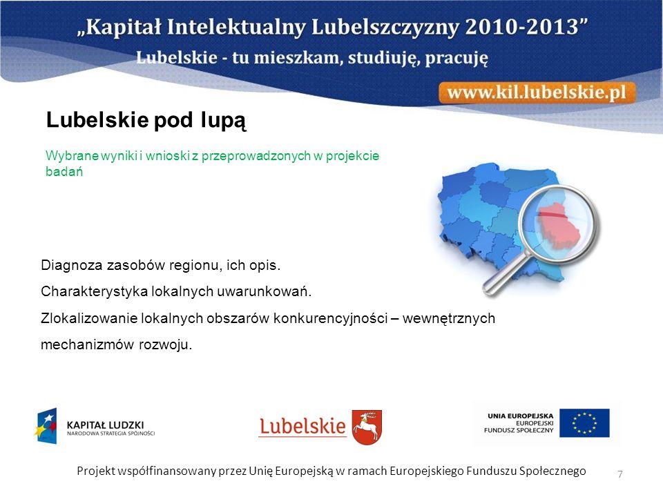 Projekt współfinansowany przez Unię Europejską w ramach Europejskiego Funduszu Społecznego 7 Diagnoza zasobów regionu, ich opis. Charakterystyka lokal