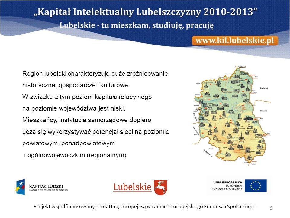 Projekt współfinansowany przez Unię Europejską w ramach Europejskiego Funduszu Społecznego 9 Region lubelski charakteryzuje duże zróżnicowanie history