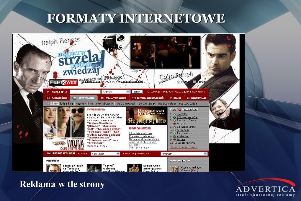 FORMATY INTERNETOWE Reklama w tle strony