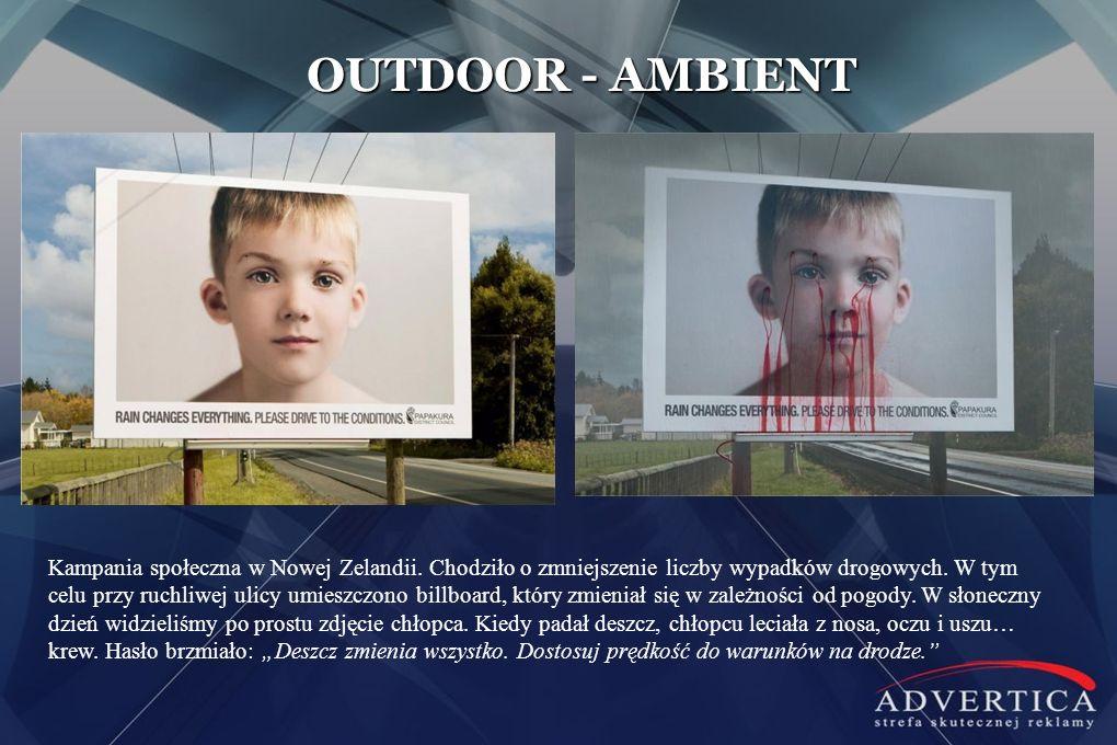 OUTDOOR - AMBIENT Kampania społeczna w Nowej Zelandii. Chodziło o zmniejszenie liczby wypadków drogowych. W tym celu przy ruchliwej ulicy umieszczono