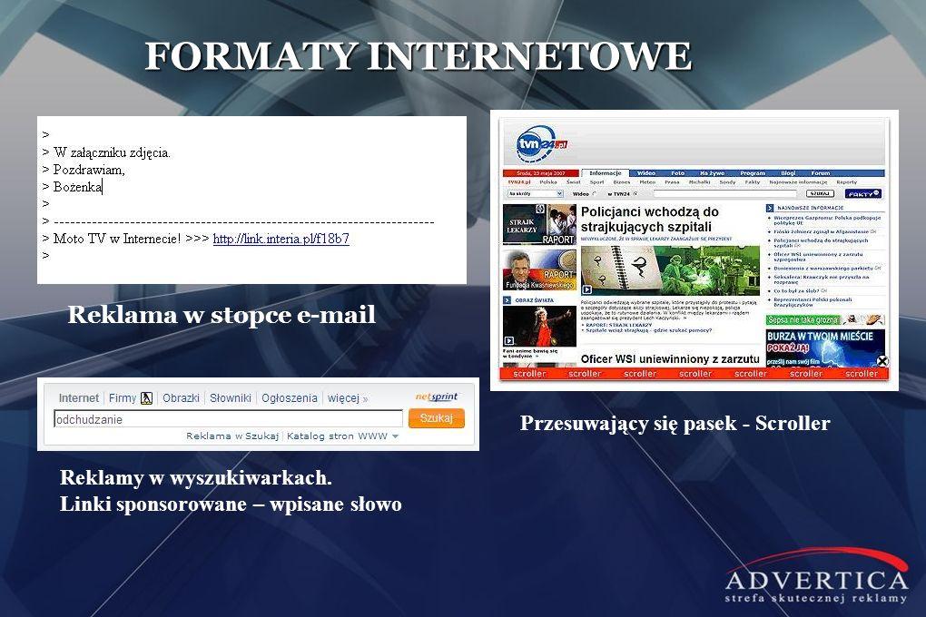 Reklama w stopce e-mail Przesuwający się pasek - Scroller Reklamy w wyszukiwarkach. Linki sponsorowane – wpisane słowo