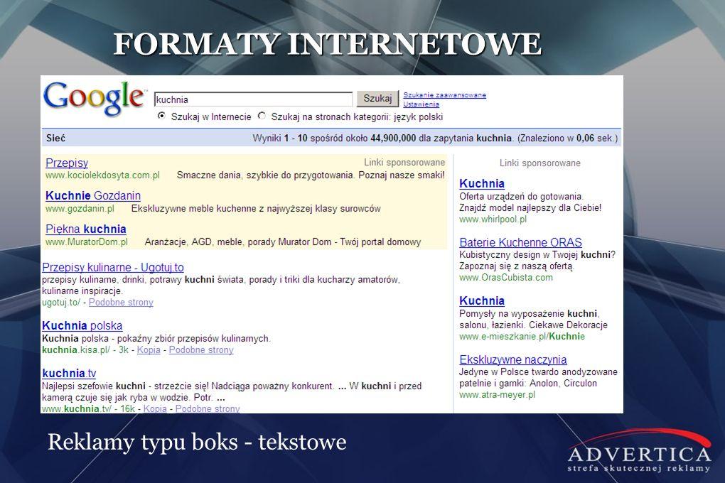 FORMATY INTERNETOWE Reklamy typu boks - tekstowe
