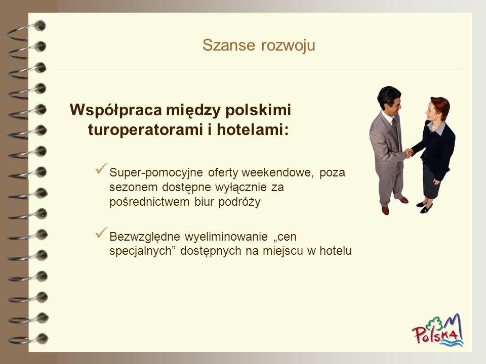 Szanse rozwoju Współpraca między polskimi turoperatorami i hotelami: Super-pomocyjne oferty weekendowe, poza sezonem dostępne wyłącznie za pośrednictw
