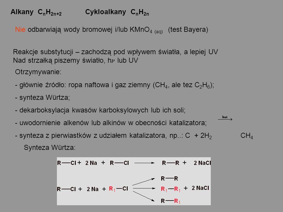 Alkany C n H 2n+2 Cykloalkany C n H 2n Reakcje substytucji – zachodzą pod wpływem światła, a lepiej UV Nad strzałką piszemy światło, h lub UV Otrzymyw